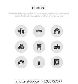 9 round vector icons such as radiograph, sealants, partial denture, overdenture, oral contains occlusal, maxilla, malocclusion, interproximal. radiograph, sealants.