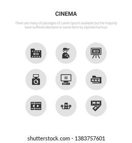 9 round vector icons such as film strip, film viewer, filmstrip, footage, freeze frame contains handicam, hd, hitman, hd movie. film strip, viewer.