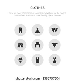 9 round vector icons such as chemise, camisole, bra & knicker, baby grow, ushanka contains swim shorts, butterfly tie, vintage dress, baby clothes. chemise, camisole.