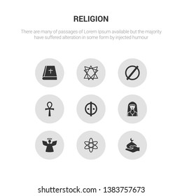 9 round vector icons such as abrahamic, agnosticism, angel, anglican, animism contains ankh, atheism, bahai, bible. abrahamic, agnosticism.