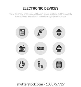 9 round vector icons such as oven, pendrive, plug, printer, projector contains radio, rice cooker, satellite dish, tablet. oven, pendrive, icon3_, gray electronic devices icons