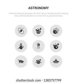 9 round vector icons such as ufo, uranus, ursa major, venus, aerolite contains aerospace, aerosphere, moon, pulsar. ufo, uranus, gray astronomy icons.