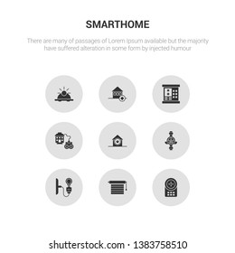 9 round vector icons such as intercom, jalousie automation, light, meter, power button contains remote vehicle, security code, security system, sensor. intercom, jalousie automation, icon3_, gray