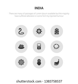 9 round vector icons such as dipa, bindi, mandala, devi, tuk tuk contains kanji vadas, alamelu, chakra, cobra. dipa, bindi, icon3_, gray india icons