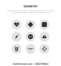 9 round vector icons such as polygonal windmill, polygonal wings, polygonal wolf head, prism, radius contains ray, rectangle, reflection, rgb. windmill, wings, icon3_, gray geometry icons