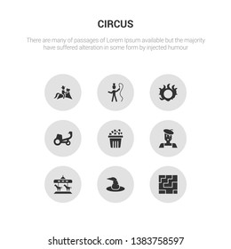 9 round vector icons such as labyrinth, magic hat, merry go round, mime, pop corn contains ride, ring of fire, ringmaster, rodeo. labyrinth, magic hat, icon3_, gray circus icons