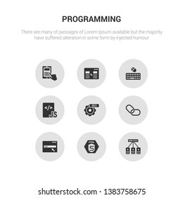9 round vector icons such as hosting, html5, http, hyperlink, image seo contains js, keyboard and mouse, landing page, mobile app. hosting, html5, icon3_, gray programming icons