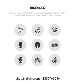 9 round vector icons such as leprosy, leptospirosis, leukemia, lice, limbtoosa contains listeriosis, loiasis, lung cancer, lupus. leprosy, leptospirosis, icon3_, gray diseases icons