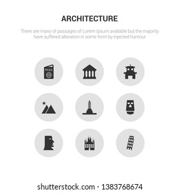 9 round vector icons such as leaning tower of pisa, milan, moai, moais, monument contains mountain, pagoda, parthenon, passport. leaning tower of pisa, milan, icon3_, gray architecture icons