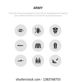 9 round vector icons such as civilian, terracotta, sniper rifle, shoulder strap, camouflage military clothing contains combat knife, skull army, swiss army knife, stealth. civilian, terracotta,