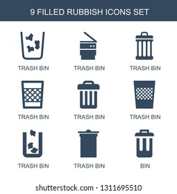 9 rubbish icons. Trendy rubbish icons white background. Included filled icons such as trash bin, bin. rubbish icon for web and mobile.