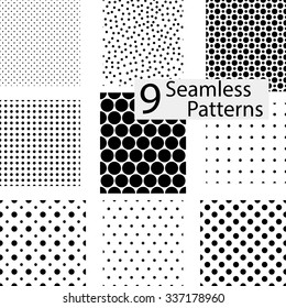 9 Seamless dotted patterns. eps10