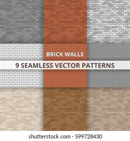 9 Seamless vector patterns. Brick wall patterns. Abstract background.