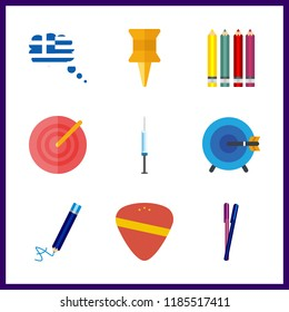 9 sharp icon. Vector illustration sharp set. guitar pick and pencils icons for sharp works