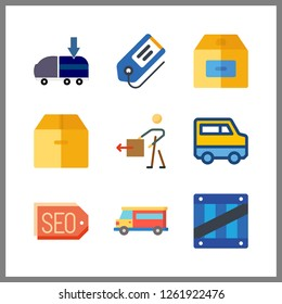 9 shipping icon. Vector illustration shipping set. van and tags icons for shipping works