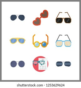 9 sight icon. Vector illustration sight set. snellen chart and sunglasses icons for sight works