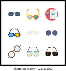 9 sight icon. Vector illustration sight set. sunglasses and reading glasses icons for sight works