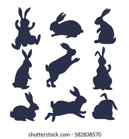 9 silhouettes of bunnies in black and white style made in vector