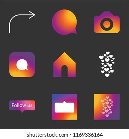 9 simple instagram transparent vector icon pack, set of black icons such as Hearts, User interface, Follow us, Home, Comment, Camera, Forward