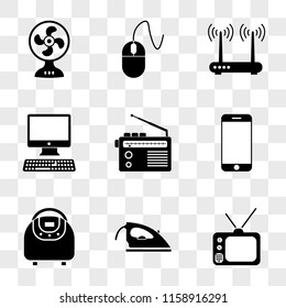 9 simple transparent vector icon pack, set of icons such as Tv, Iron, Multivarka, Smartphone, Radio, Computer, Router, Mouse, Fan