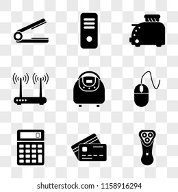 9 simple transparent vector icon pack, set of icons such as Electric shaver, Cit card, Calculator, Mouse, Multivarka, Router, Toster, Server, Hair straightener