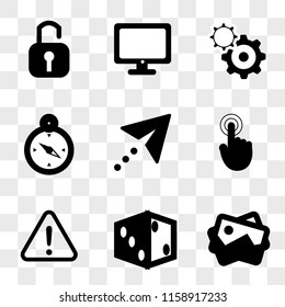 9 simple transparent vector icon pack, set of icons such as Picture, Dice, Warning, Tap, Cursor, Compass, Settings, Computer, Padlock