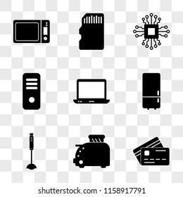 9 simple transparent vector icon pack, set of icons such as Cit card, Toster, Vacuum cleaner, Refrigerator, Computer, Server, Microchip, Memory Microwave oven