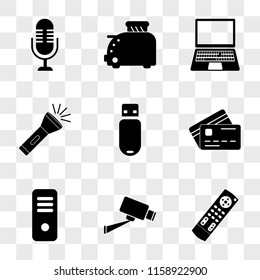 9 simple transparent vector icon pack, set of icons such as Tv remote control, Cctv, Server, Cit card, Pendrive, Flashlight, Laptop, Toster, Microphone