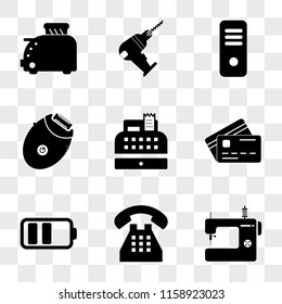 9 simple transparent vector icon pack, set of icons such as Sewing machine, Telephone, Battery, Cit card, Cash register, Epilator, Server, Driller, Toster
