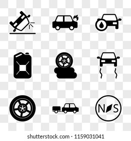 9 simple transparent vector icon pack, set of icons such as Car Compass, with Trailer, Wheel, Skidding Car, Three Wheels, Petrol Can, Oil, On Fire, Overturned
