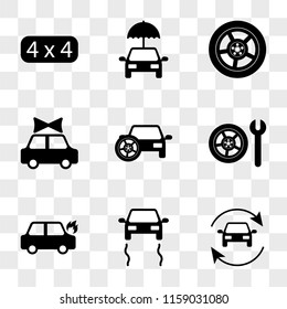 9 simple transparent vector icon pack, set of icons such as Refreshing Car, Skidding Car On Fire, Wheel and Wrench, with Spare Tire, Present Wheel, Umbrella Sport