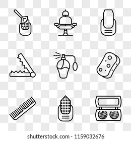 9 simple transparent vector icon pack, set of icons such as Makeup, Manicure, Comb, Sponge, Perfume, Hair straightener, Barber chair, Manicure