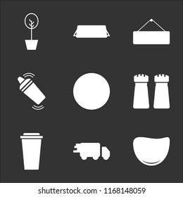 9 simple transparent vector icon pack, set of black icons such as Steak, Delivery, Coffee cup, Salt and pepper, Breakfast, Shaker, Open, Reserved, Tree