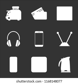 9 simple transparent vector icon pack, set of black icons such as Kettle, Ethernet, Server, Antenna, Smartphone, Headphones, Cardiogram, Cit card, Toster