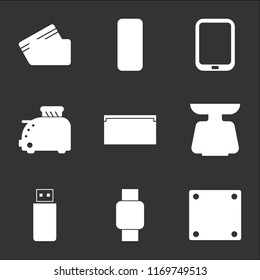 9 simple transparent vector icon pack, set of black icons such as Socket, Wristwatch, Flash drive, Scale, Vhs, Toster, Tablet, Server, Cit card