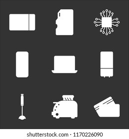 9 simple transparent vector icon pack, set of black icons such as Cit card, Toster, Vacuum cleaner, Refrigerator, Computer, Server, Microchip, Memory Microwave oven