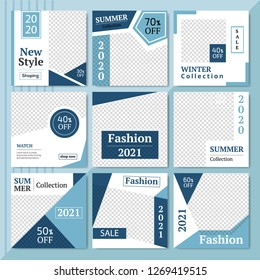 9 Slides Summer Sale & Fashion Collection modern Social Media banner Template. Anyone can use This Easily. Promotional square web banner for social media. Elegant sale and discount promo. - Vector.