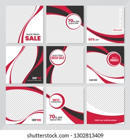 9 Slides Unique Editable modern Social Media banner Template.Anyone can use This Design Easily.Promotional square web banner for social media. Elegant sale and discount promo - Vector.
