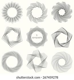 9 spirograph patterns