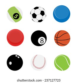 9 Sport Balls vector and icon set great for any use.