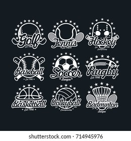 9 sport logo chalk design vector