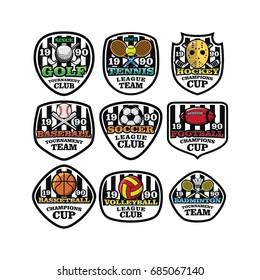 9 sport logo & emblem icon vector