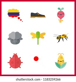 9 spring icon. Vector illustration spring set. bee and columbia icons for spring works