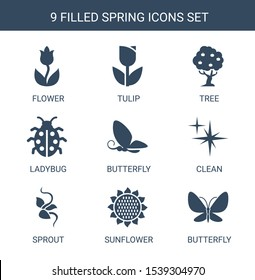 9 spring icons. Trendy spring icons white background. Included filled icons such as flower, tulip, tree, ladybug, butterfly, clean, sprout, sunflower. spring icon for web and mobile.