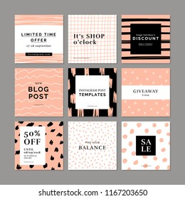 9 square layout templates for social media, mobile apps or banner design. Social media pack. Graphic hand drawn backgrounds.