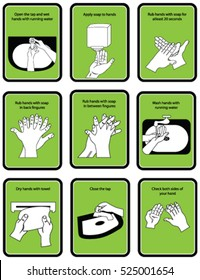 9 steps of hand wash procedure for hygiene in vector illustration.