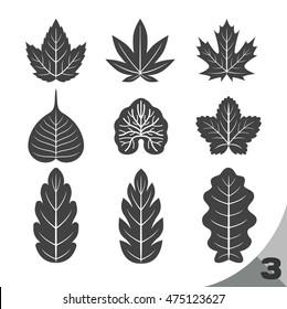 9 style shape of leaf(black & white),leaf icon