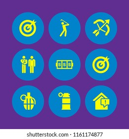 9 target icons in vector set. problem, archery, goal and slots coincidence illustration for web and graphic design