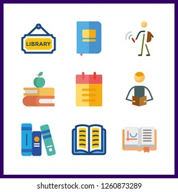 9 textbook icon. Vector illustration textbook set. books and student icons for textbook works