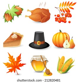 9 thanksgiving icons over white background